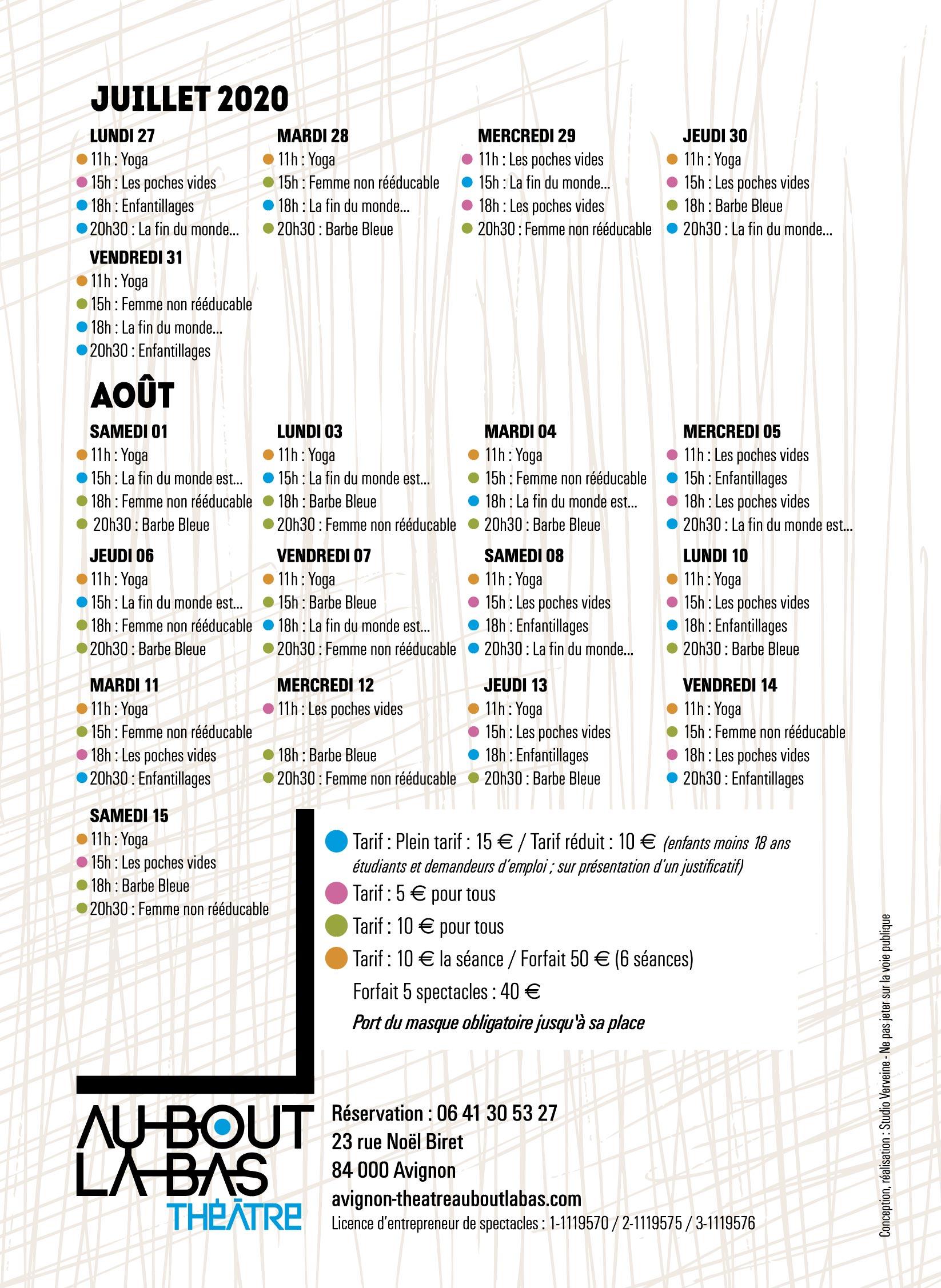 calendrier des représentations avignon 2020